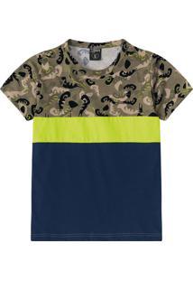 Camiseta Com Recortes- Verde Militar & Azul Marinholilica Ripilica E Tigor T. Tigre