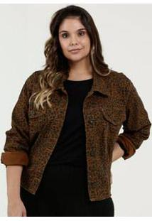 Jaqueta Feminina Jeans Animal Print Plus Size Razon