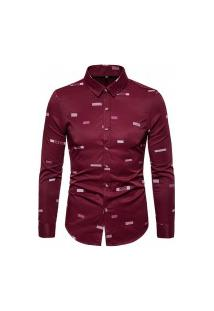 Camisa Masculina Social Slim California - Vermelha
