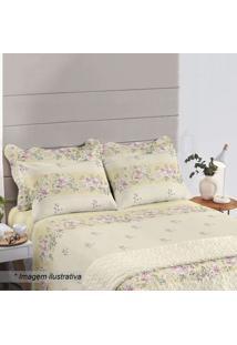 Jogo De Cama Floral Royal Queen Size- Amarelo & Verde Essantista