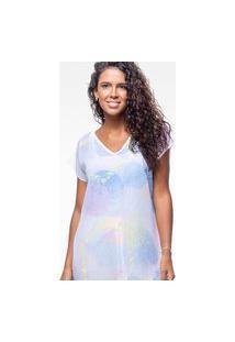 Blusa 101 Resort Wear Saida De Praia Estampada Crepe Mandalas Multicoloridas