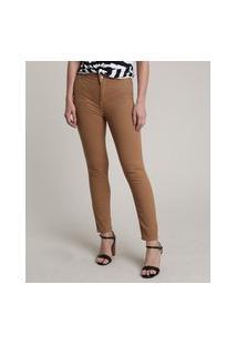 Calça De Sarja Feminina Skinny Cintura Alta Caramelo