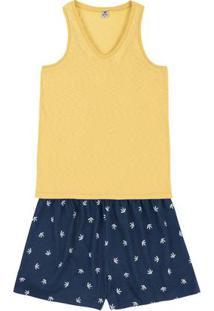 Pijama Em Malha De Algodão Com Regata E Shorts Estampado