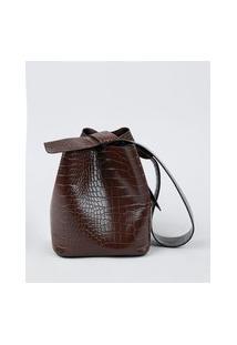 Bolsa Feminina Bucket Grande Croco Com Alça E Laço Marrom Escuro