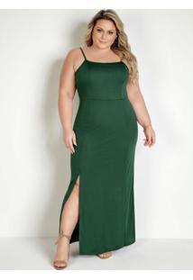 Vestido Longo Verde Com Fenda E Alças Plus Size