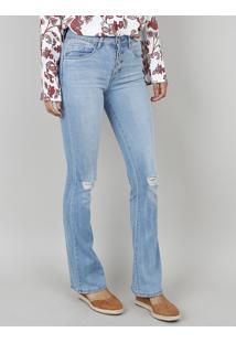 011e5ef31 Calça Jeans Feminina Boot Cut Com Botões Azul Claro