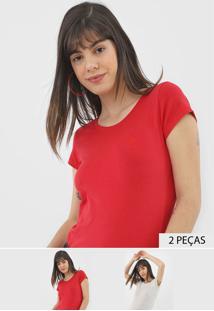 Kit 2Pçs Camiseta Polo Wear Logo Cinza/Vermelho