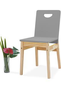 Cadeira Para Cozinha Tucupi 40X51X81Cm - Acabamento Stain Natural E Cinza Concreto
