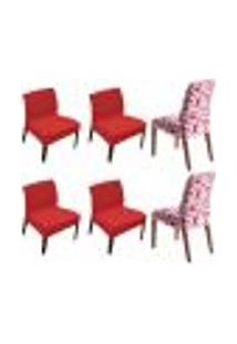 Kit 6 Capas De Cadeira Estampada E Lisa Vermelha Shade Sultan