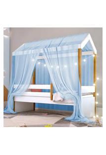 Cama Montessoriana Exclusiv Solteiro Fio De Luz E Voal Azul Casah