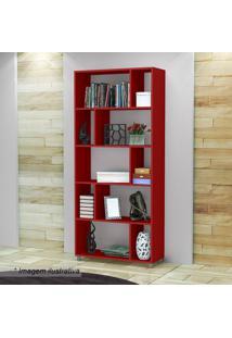 Estante Com Nichos- Vermelha- 184X81,5X29,5Cm- Mmovel Bento