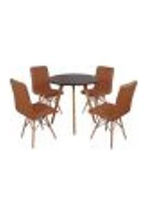 Mesa Inês 80Cm Preta + 4 Cadeiras Eiffel Gomos - Marrom