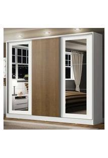 Guarda-Roupa Casal 100% Mdf Madesa Eros 3 Portas De Correr Com Espelhos Branco/Branco/Rustic Branco
