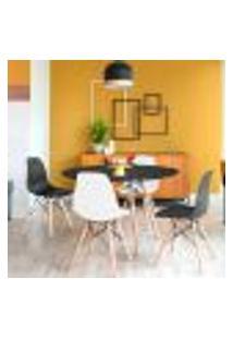 Conjunto De Mesa De Jantar Com 4 Cadeiras Eames Eiffel Premium Preto E Branco