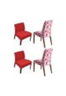 Kit 4 Capas De Cadeira Estampada E Lisa Shade Vermelha Sultan