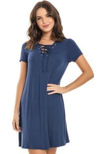 Vestido Com Ilhoses Azul