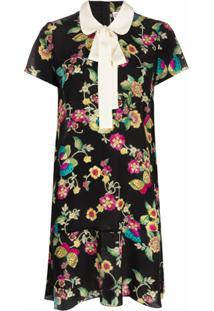 Redvalentino Vestido Com Estampa De Flores E Borboletas - Preto