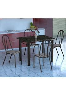 Conjunto De Mesa Genova Com 4 Cadeiras Alicante Preto Prata E Preto Listrado