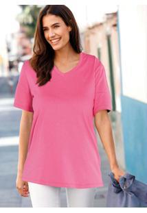 Blusa Básica Decote V Rosa Pink
