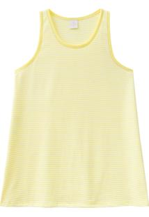 Blusa Lecimar Em Meia Malha Alto Verão Listrada Gg Amarelo