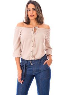 Blusa Sisal Jeans Ciganinha Manga Longa Crepe Areia
