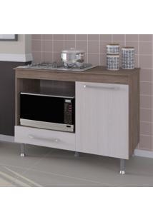 Balcão De Cozinha Para Cooktop 1 Gaveta Indekes Nogal/Salina