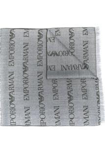 Emporio Armani Echarpe Com Bordado De Logo - Cinza