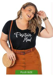Blusa Plus Size Com Bordado Preto
