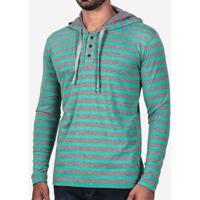 Camiseta Henley Listrada Turquesa Com Capuz 101948 4ba7d8bd073e8