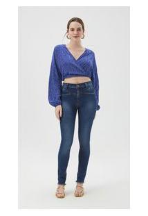 Calça Zinco Skinny High Waist Cós Alto Com Recorte Jeans