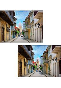 Jogo Americano Colours Creative Photo Decor - Rua Em Cartagena Na Colômbia - 2 Peças