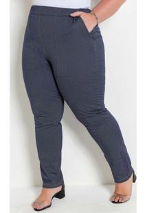 Legging Azul Com Bolsos Frontais Plus Size