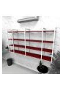 Estante Industrial Escritório Aço Cor Branco 180X30X98Cm Cxlxa Cor Mdf Vermelho Modelo Ind57Vres