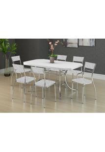 Mesa 1507 Branca Cromada Com 6 Cadeiras 1701 Fantasia Branco Carraro