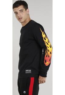 Camiseta Masculina Kings Sneakers Chamas Manga Longa Gola Careca Preta