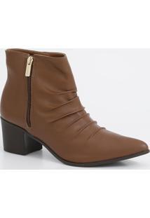 Bota Feminina Ankle Boot Cano Curto Salto Baixo Via Uno