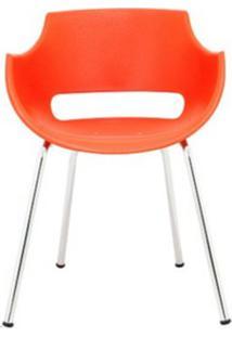 Cadeira Frida Base Fixa Cromada Cor Laranja - 30365 - Sun House
