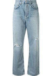 Agolde Calça Jeans Reta Captured Destroyed - Azul
