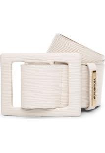 Cinto Cintura Largo Texturizado Branco