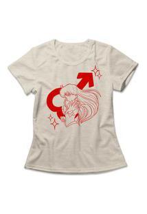 Camiseta Feminina Sailor Mars Bege