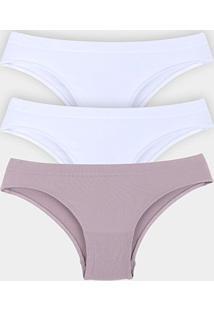 Kit Calcinha She Microfibra Sem Costura 3 Peças - Feminino-Branco+Rosa