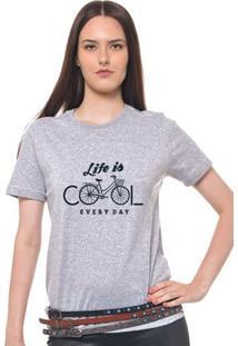 Camiseta Feminina Joss - Life Is Everyday - Feminino-Mescla
