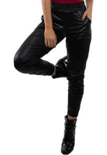 Calça Jogger Mvb Modas Cirrê Cintura Alta Feminina - Feminino-Preto