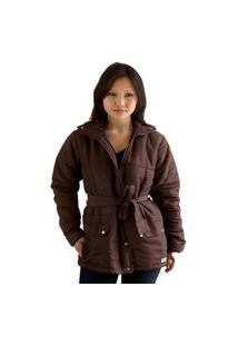 Casaco Parka Feminino Plus Size Acolchoado Com Cinto Tamanhos 48 A 54 Inverno Marrom