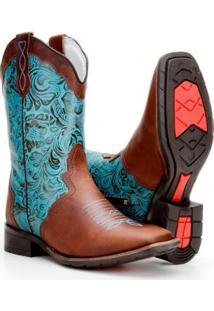 Bota Country Capelli Texana Montaria Estampada Couro Feminino - Feminino-Marrom+Azul
