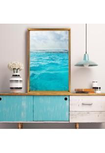 Quadro Com Moldura Chanfrada Ocean Dourado - Médio