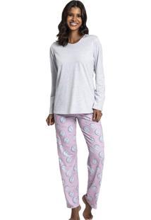 Pijama Recco Comprido De Malha Branco