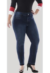 Calça Jeans Feminina Sawary Cigarrete Com Barra Desfiada Plus Size Azul Escuro