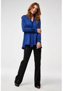 Camisa Alongada E Laço Wool Line Tricot Feminina - Feminino-Azul Escuro
