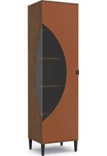 Cristaleira 600Mm 1 Porta Jacaranda/Terracota De Madeira Kappesberg